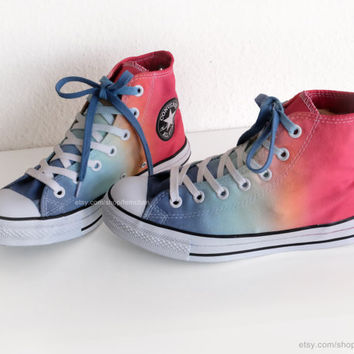 Blue, orange, tangerine red dip dye Converse sneakers, upcycled vtg All Stars, rainbow, new laces, size 37.5 (UK 5, US wo's 7, US mens 5)