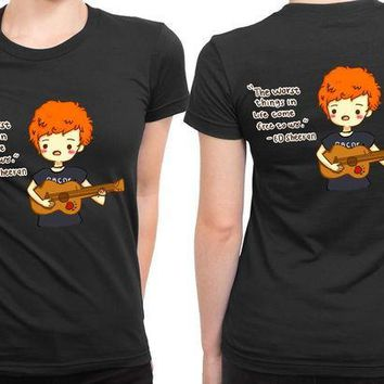 CREYP7V Ed Sheeran Cartoon The Worse Thing 2 Sided Womens T Shirt
