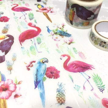 pretty birds washi tape 10M x 3cm flamingo peacock parrot toucan masking tape watercolor bird big wild bird sticker tape bird decor