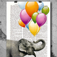 "Dictionary Page Art - DIY Digital Wall Art Print - Elephant Love on a Vintage Dictionary Page - 8.5""x11"" - Digital Download  CP-1002"