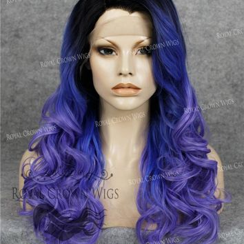 "24 inch Heat Safe Synthetic Wig Lace Front ""Rani"" with Curly Texture in Rooted Blue to Purple Ombre"