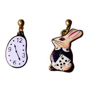 Asymmetry Cute Fantasy Girl Alice in Wonderland Watch Rabbit Enamel Brooch Earrings Women Fairy Tale Matching Accessories#273424