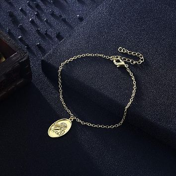 KJ Bracelet Fashion Jewelry Greek Goddess Coin Bracelet in 18K Gold Plated