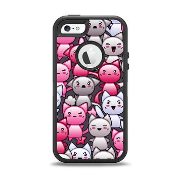 The Cute Abstract Kittens Apple iPhone 5-5s Otterbox Defender Case Skin Set