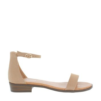 Low Heel Ankle Strap Sandal (TAUPE)