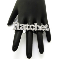Hip Hop Triple Finger Gold or Silver RATCHET Ring