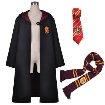 Harri Potter Robe Cape Cloak with Tie Scarf Ravenclaw/Gryffindor/Hufflepuff/Slytherin Cosplay Costumes Malfoy Hermione Suit