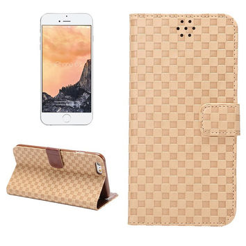 Hight Quality Grid Khaki Leather Card Hold Wallet creative cases for iPhone 5S 6 6S Plus Samsung Galaxy S6