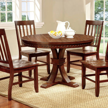 """CM3437RT-5PC 5 pc foster i dark oak finish wood 48"""" round dining table with nail head trim edge"""