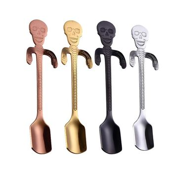 Coffee Spoon 304 Stainless Steel Tea Hanging cups Supplies Tableware Kitchen Skull Spoons