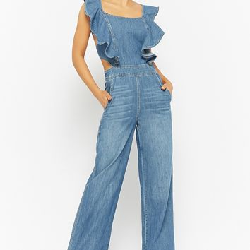 Strappy Denim Jumpsuit