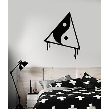 Vinyl Wall Decal Yin Yang Symbol Buddhism Triangle Geometric Stickers (3763ig)