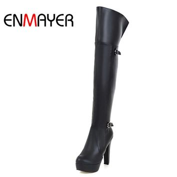 ENMAYER Fashion Winter Boots Over-the-Knee High Sexy Boots High Heel Platform Buckle Black Brown Shoes Woman Wram Boots Ladies
