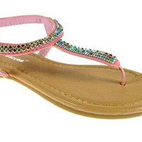 Toddler Girls Ositos Multicolored Gems Strap Sandals 2710-I Coral