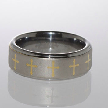 Tungsten Wedding Band Ring w Yellow Gold Plated Laser Engraved Cross