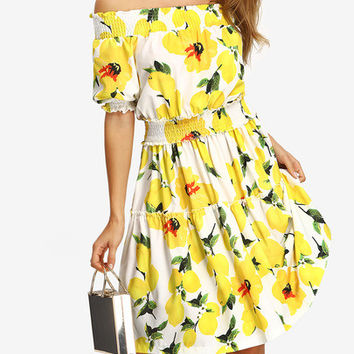 Flower Print Off-the-shoulder Smocked Dress [6220860420]