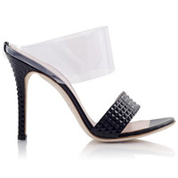 PRINCIPESSA Pyramid Black Leather and PVC Mule