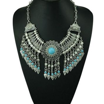 CREYUG3 Bohemian Style Silver Chain Long Tassels Statement Necklace Carving Flower Turquoise Turkey Jewelry (Size: 143 g, Color: Blue)