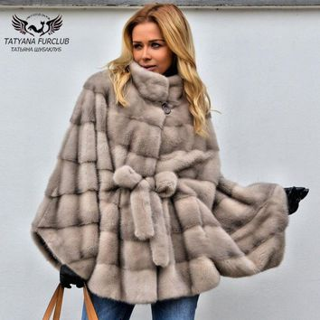 2018 New Real Fur Mink Coat For Women Bat Type Loose Mink Fur Coats Long natural fur coat Genuine Leather Fur Outwear OverCoats