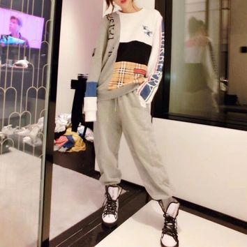 """""""Burberry"""" Women Temperament Casual Multicolor Stitching Tartan Long Sleeve Shawl Sweater Leisure Pants Trousers Set Two-Piece"""