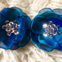 Mermaid Sew on flowers Embellishment royal blue turquoise chiffon gold sequin couture blossoms 3D decoration applique ornament for DIY luxe