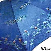 Waterlilies Folding Travel Blue Umbrella by Monet 12L - 7064