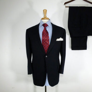 Vintage Mens suit, vintage clothing 80's by Marshall Fields & Co. Two Piece Two Button Dark Navy Blue with Pique Stitching 42