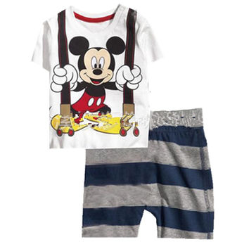 High Quality Summer Baby boys Clothes Mickey pattern Suit Short Sleeve T-shirt +Shorts Kids Childrens Clothing Sets pajamas k034