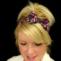 Dark blue/pink/green floral bow headband for adult/kid