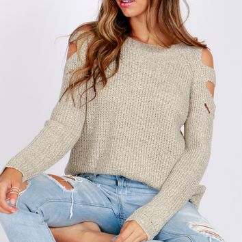 Slit Sleeve Cold Shoulder Sweater Taupe