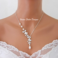Wedding Necklace Jewelry Simulated Pearl Orchid Flower Bridesmaid Gift