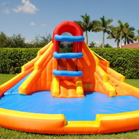 Double Water Slide Pool Bounce House Inflatable Bouncer Moonwalk Jumper Jump