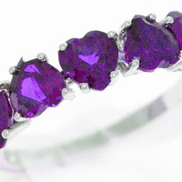 3 Carat Amethyst Heart Ring .925 Sterling Silver Rhodium Finish