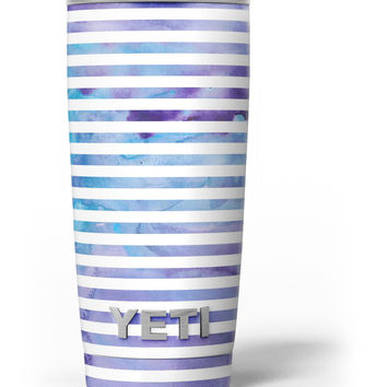 White Horizontal Stripes Over Purple and Blue Clouds Yeti Rambler Skin Kit