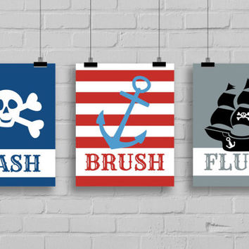 Pirate Bathroom Art Prints - Set of 3 Prints, Kids Bathroom Decor, Bathroom Decor, Skull and Crossbones Print, Pirate Ship Print, Anchor