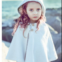 Girls Cape in Boiled Wool- AS SEEN in FoHr Magazine- White Capelet with Hood- Flower Girls Cape-  Modern Kids- Spring Weddings