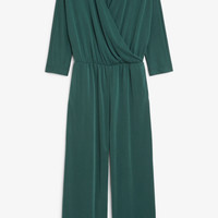 Super-soft wrap jumpsuit - Deep forest - Jumpsuits - Monki GB