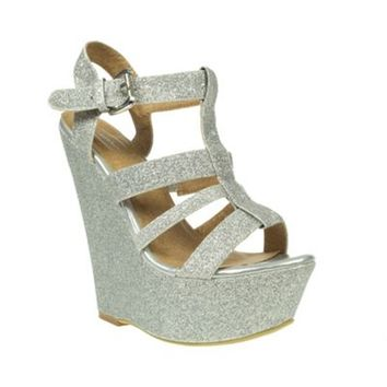 Casandra Silver Glitter Strappy Wedge Heel Sandals- at Debenhams Mobile