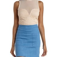 Blush Mesh & Lace High-Neck Crop Top by Charlotte Russe