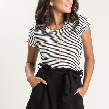 Eva Black Stripe Cropped Tee