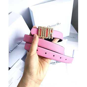 Dior Tide brand men's and women's diamond-studded smooth buckle belt Pink