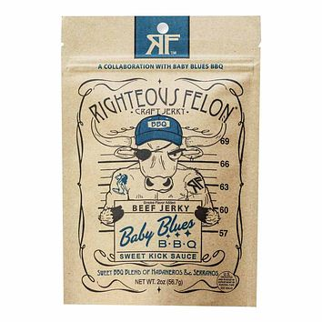 Righteous Felon Baby Blue BBQ Beef Jerky 2 oz. (56g)
