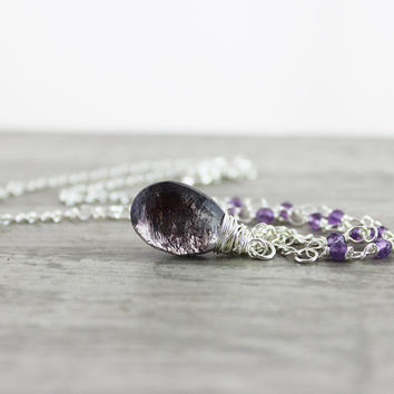 Moss Amethyst Necklace, Sterling Silver Necklace, Deep Purple Necklace, Wire Wrap Necklace, Purple Gemstone Necklace, February Birthstone