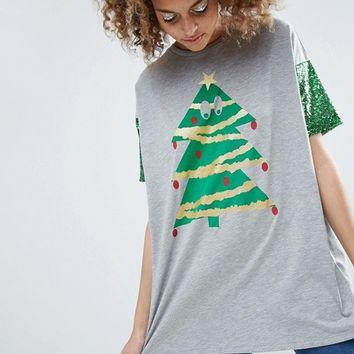 ASOS HOLIDAYS T-Shirt With Sequin Sleeve and Holidays Tree Print at asos.com