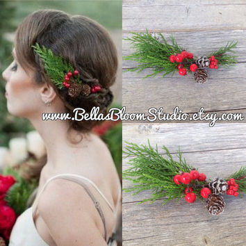 Red wedding Headpiece Rustic wedding Red bridal headpiece Rustic flower crown rustic wedding Country wedding flower girl Bridesmaid etsy