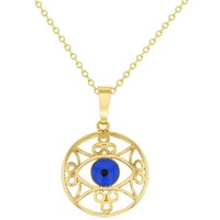 Round Greek Turkish Blue Evil Eye Pendant Necklace for Women 19""
