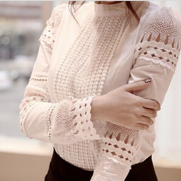XXL Plus Size Women Blouse Cutout Long-sleeve Slim Crochet White Vintage Lace Shirts Work Wear Female Tops Woman Clothing