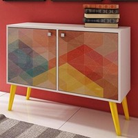 Funky Avesta Side Table with 3 Shelves with a Colorful Stamp Door