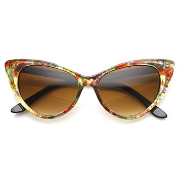Womens Mod Retro Floral Print Hot Tip Cat Eye Sunglasses 9146