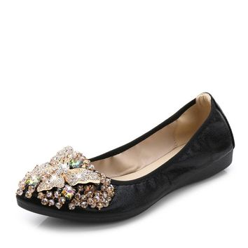Women Crystal Ballet Flats Size 34-43 2017 Spring Solid Gold Bling Cloth Pointed Toe Slip-On Flat Shoes Woman WD08